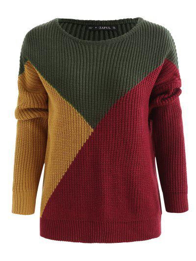 Color Block Tricolor Oversized Sweater - Army Green M