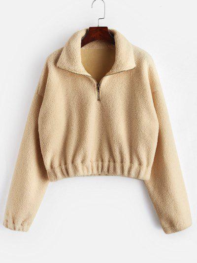 Half Zip Plain Faux Fur Sweatshirt - Tan L