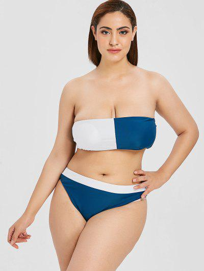 e5799adca64 ZAFUL Plus Size Two Tone Bandeau Bikini - Multi L