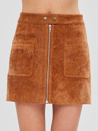 ZAFUL Pockets Zip Up Corduroy Skirt