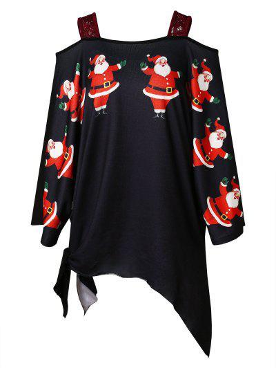 Plus Size Christmas Santa Claus Print Asymmetrical T-shirt - Black L
