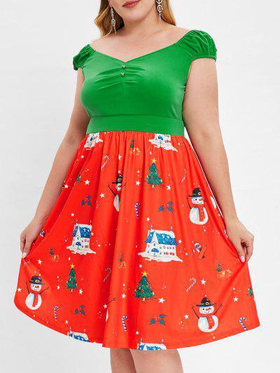 Talla Grande Vestido De Manga Larga Con Estampado De Navidad - Rojo 4x