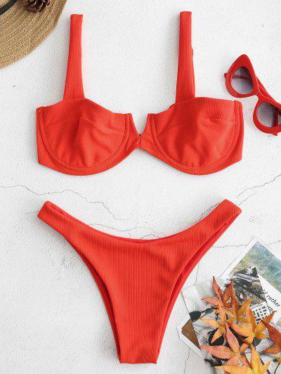 Ribbed Knit Underwire Bikini - Bright Orange M