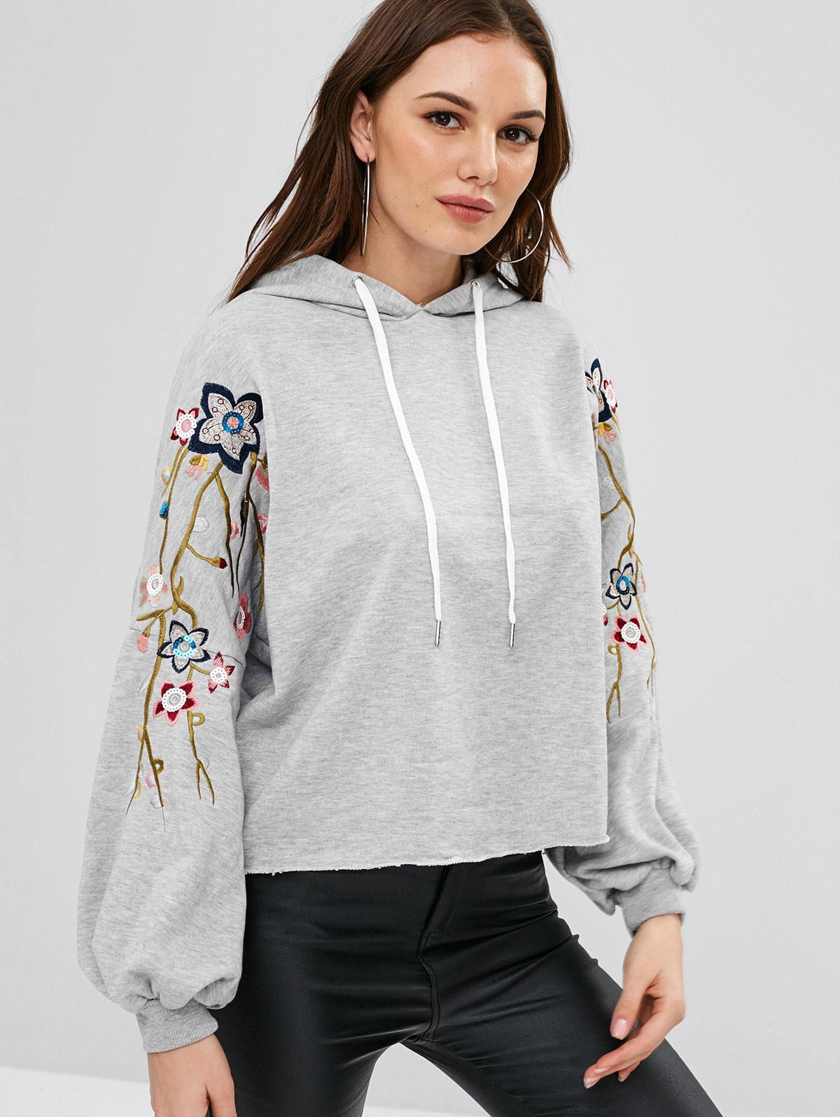 ZAFUL Floral Embroidered Lantern Sleeves Hoodie