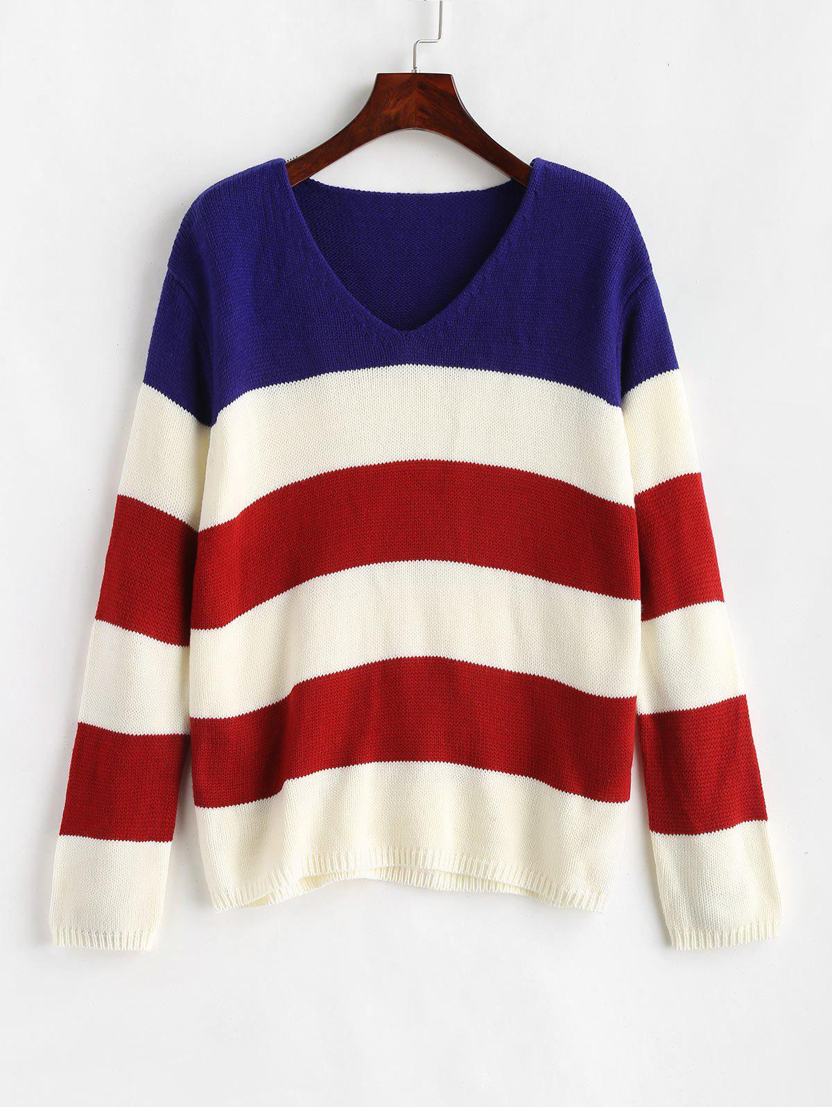 ZAFUL V Neck Striped Tricolor Sweater