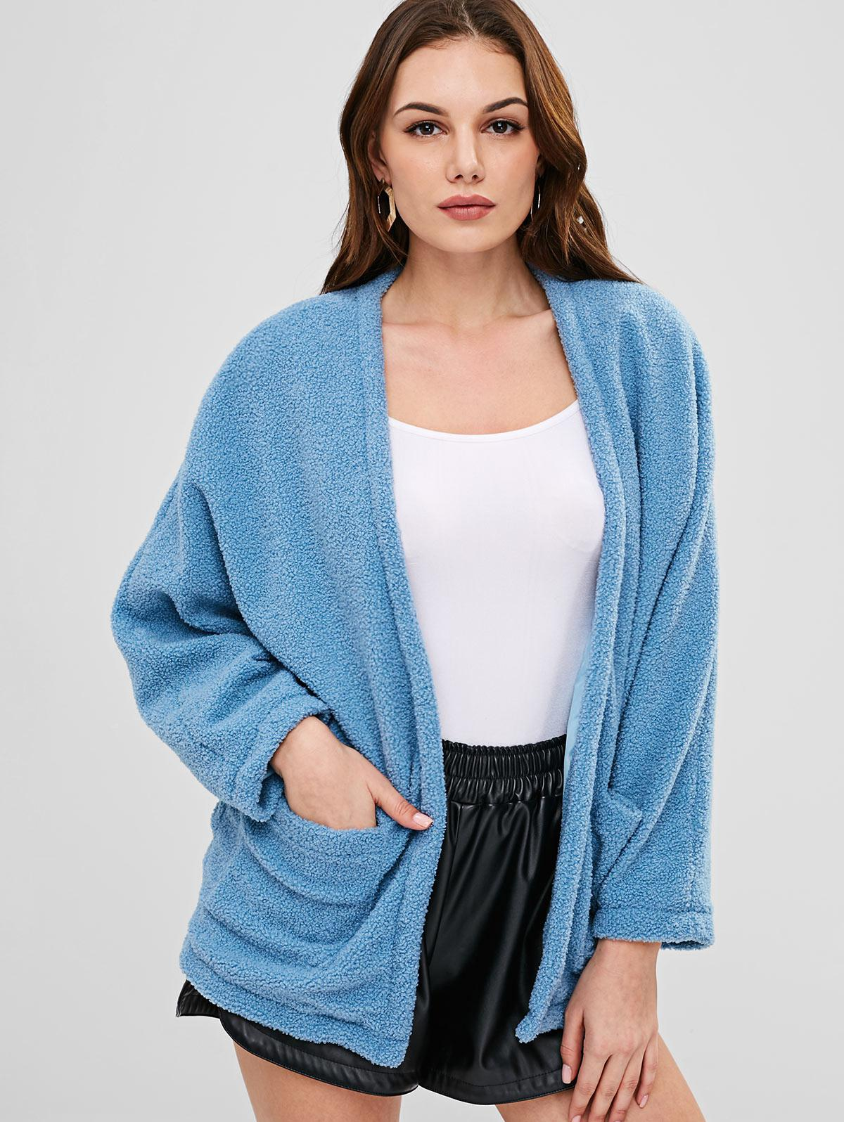 ZAFUL Open Front Pockets Fluffy Coat