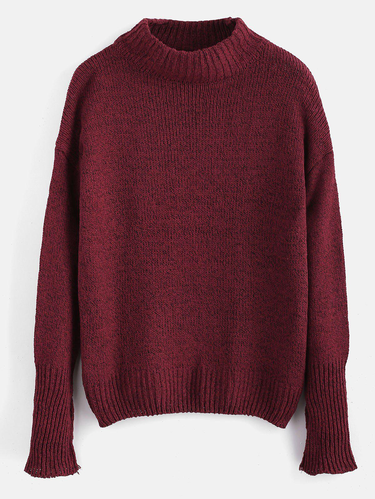 Plain Heathered Pullover Sweater