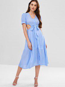 فستان عاري الكتفين - الضوء الأزرق L