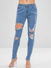 جينز مزموم بحواف ممزقة - ازرق M