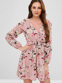مربوط الأزهار طويلة الأكمام اللباس - الكاكي روز M