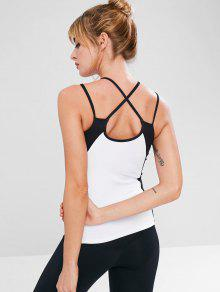 827266b4b6890 22% OFF  2019 Built In Bra Color Block Workout Tank Top In WHITE