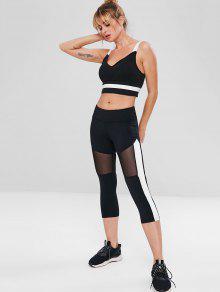 02e4d06b028a73 25% OFF] 2019 Mesh Panel Capri Gym Yoga Leggings In BLACK   ZAFUL ...