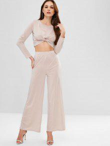 ZAFUL Twisted Tee And Wide Leg Pants Set - ضوء الكاكي M