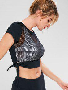 Crop Fishnet Knot Sport Gym Tee - أسود S