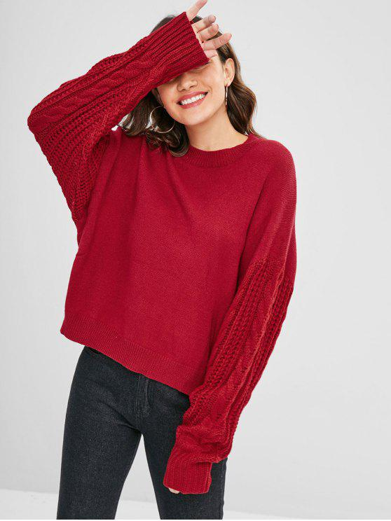 lady Cable Knit Loose Fit Sweater - RED S