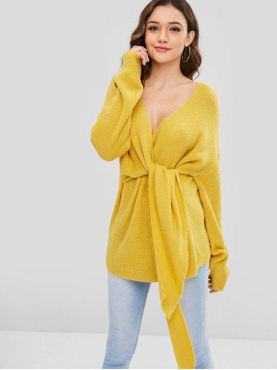 c633774a81e 2019 Front Tied Surplice Tunic Sweater In RUBBER DUCKY YELLOW ONE ...