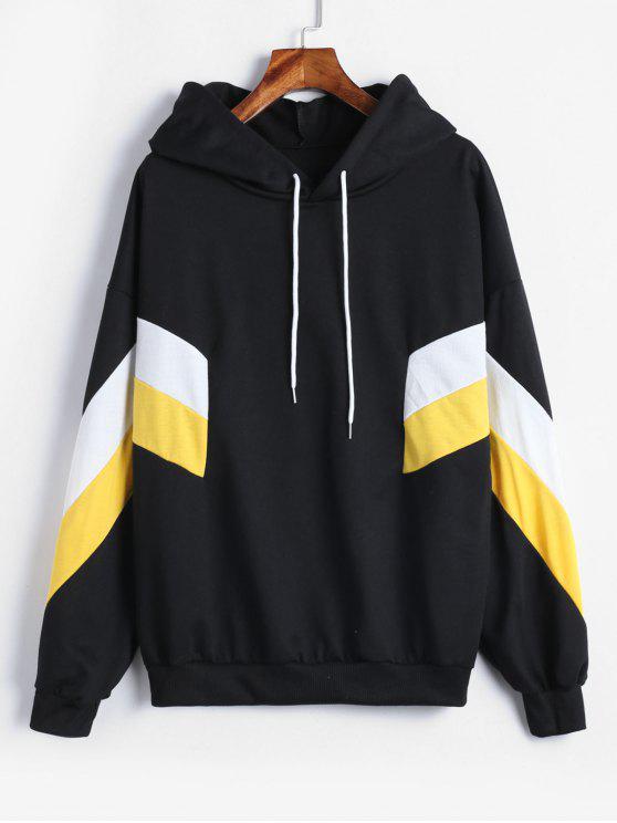 sale Drop Shoulder Patchwork Hoodie - YELLOW XL
