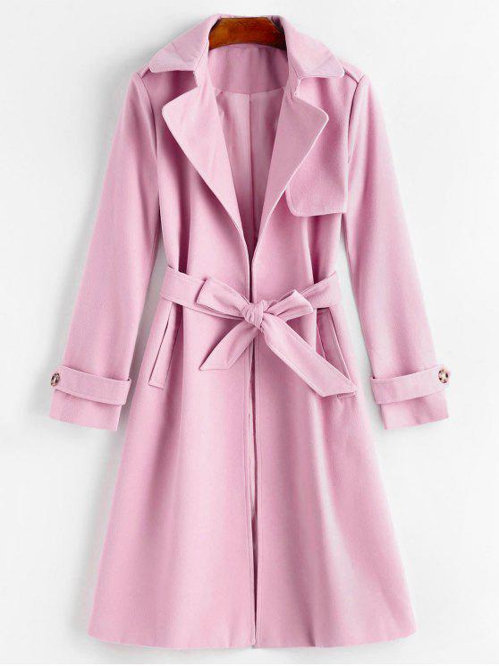 latest Belted Lapel Coat with Pockets - PINKISH PURPLE L