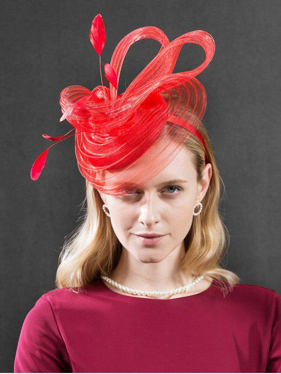 online British Style Feather Cocktail Hat - RED
