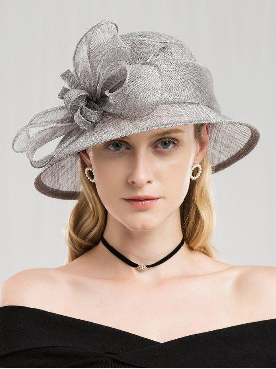 latest Solid Color Flower Elegant Hat - PLATINUM