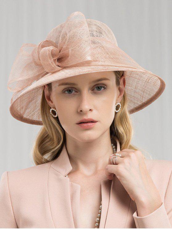 womens Floral Flax Bucket Hat - TAN