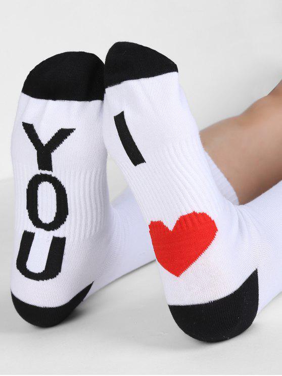 Heart Design Mid Calf Socks - أبيض