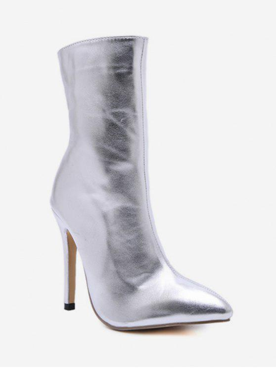 lady Pointed Toe High Heel Short Boots - SILVER EU 40