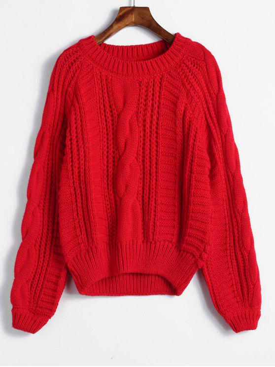 outfits Raglan Sleeve Cable Knit Chunky Sweater - RED ONE SIZE