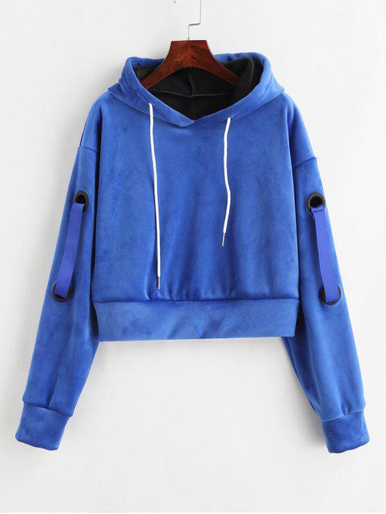 women Crop Velvet Fleece Hoodie - BLUE XL