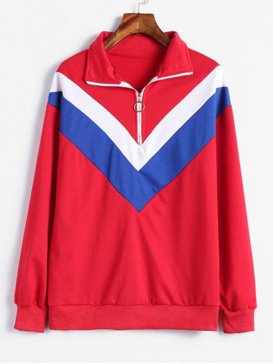 Sweat-shirt Panneau Rayé à Demi-Zip - Rouge Lave 2XL