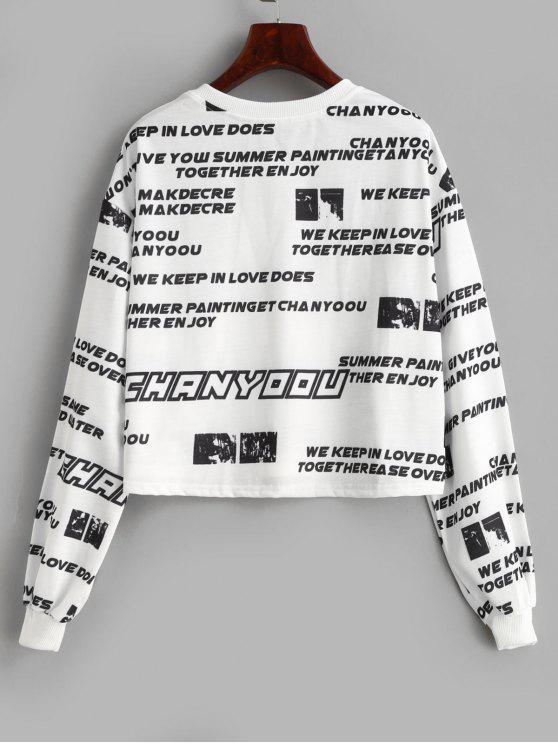 shirt L Et Lettres Imprimé SlogansBlanc À Sweat 35ARqScLj4