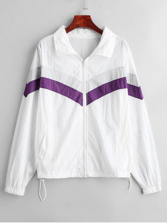 buy Color Block Jacket with Zip - WHITE XL