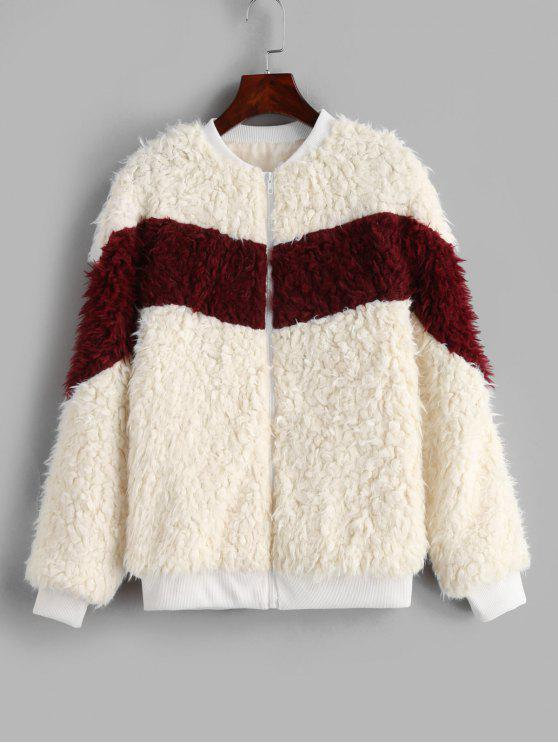 best Fluffy Zip Up Color Block Teddy Jacket - WARM WHITE S