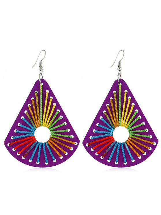 chic Boho Geometric Design Wooden Earrings - PURPLE