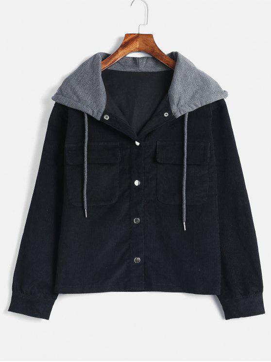 ZAFUL Snap Button Chaqueta con capucha de pana - Negro M