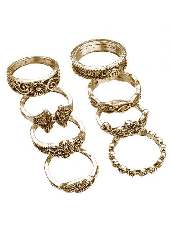 women 8pcs Hollow Out Design Alloy Rings - GOLD