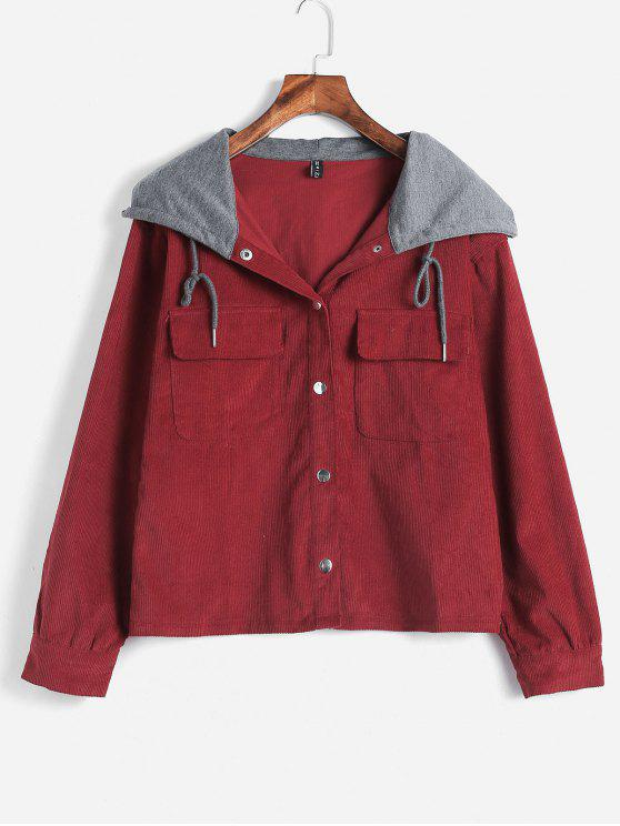 lady ZAFUL Snap Button Corduroy Hooded Jacket - RED WINE S