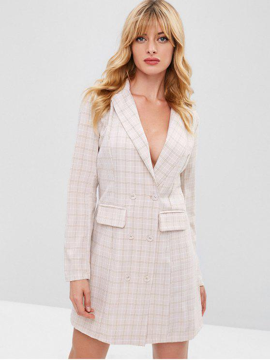latest ZAFUL Button Up Plaid Blazer Dress - MULTI L