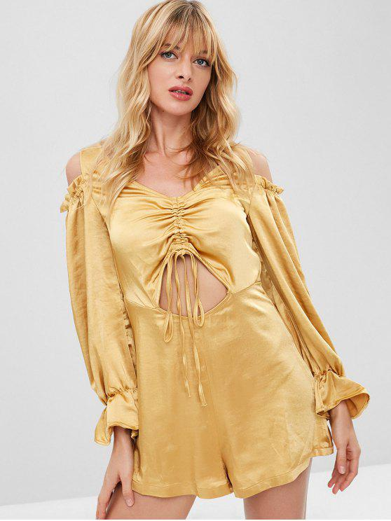 chic ZAFUL Cold Shoulder Cinched Cut Out Romper - SUN YELLOW M