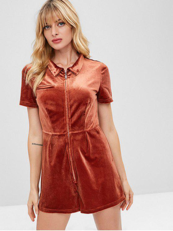 womens ZAFUL Zip Front Faux Pocket Velvet Romper - ORANGE SALMON S