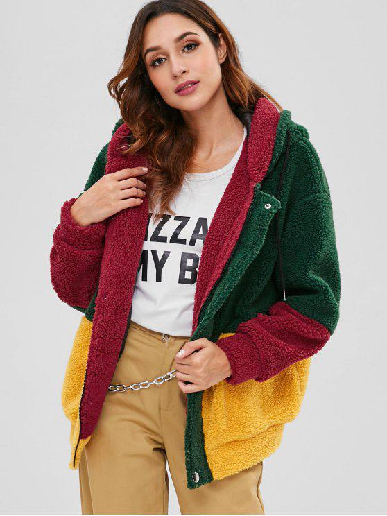 hot ZAFUL Color Block Faux Fur Hooded Coat - GREEN S