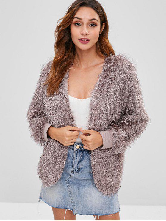 unique ZAFUL Threads Embellished Open Coat - PUCE XL