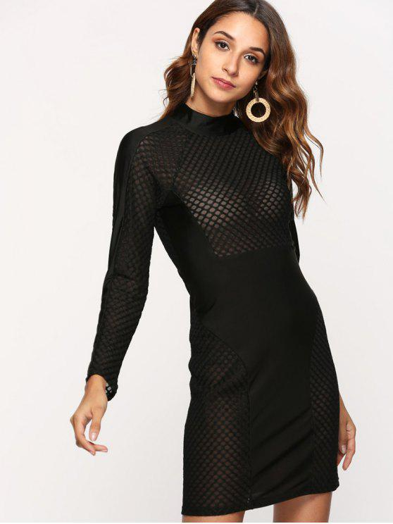 Mesh Panel Bodycon Dress - Preto M