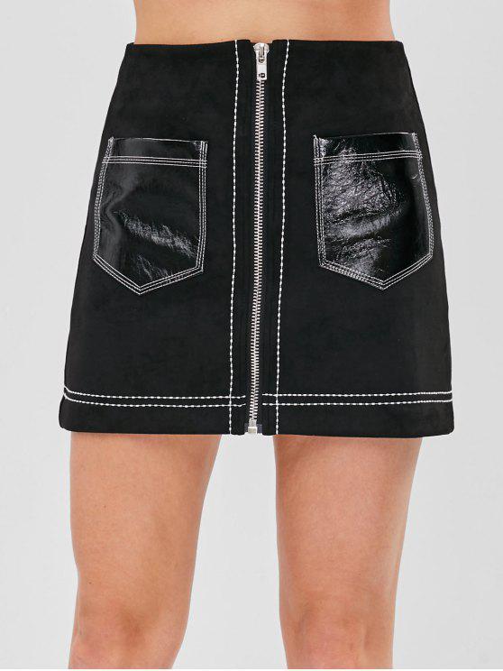 فو الجلد المدبوغ التصحيح جيب زمم البسيطة التنورة - أسود XS