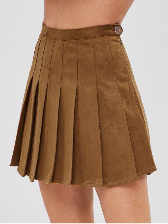 Mini falda plisada con pantalones cortos internos - Marrón S