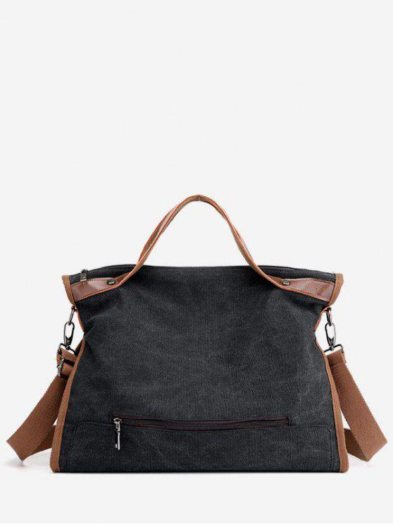 chic Large Capacity Solid Color Tote Bag - BLACK