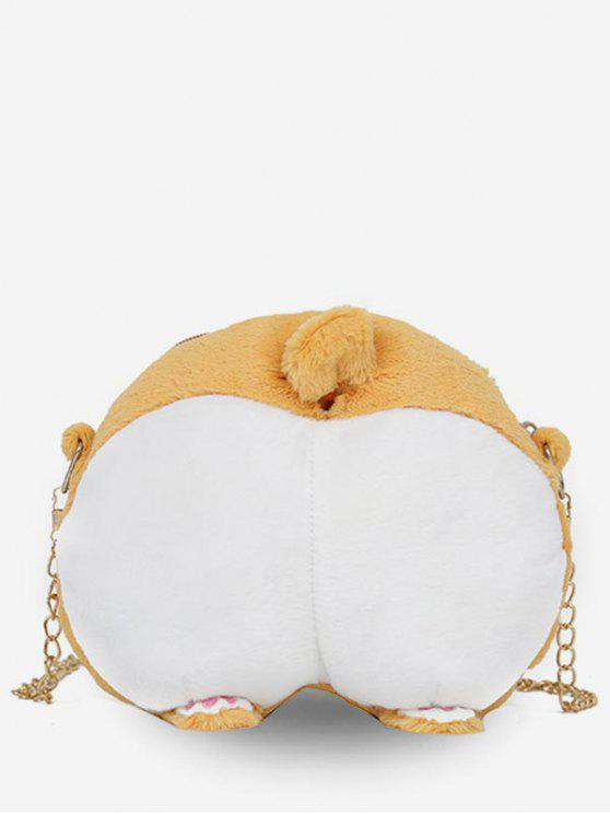 women Animal Feet Artificial Fluffy Crossbody Bag - BEE YELLOW
