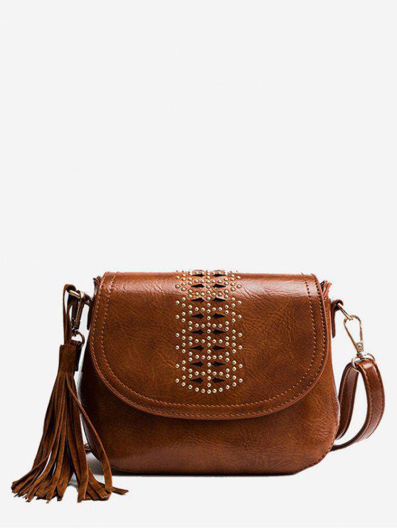 chic Geometric Design Tassel Crossbody Bag - BROWN