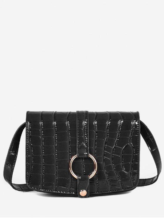 Patent Leather Hook Decoration Crossbody Bag - أسود