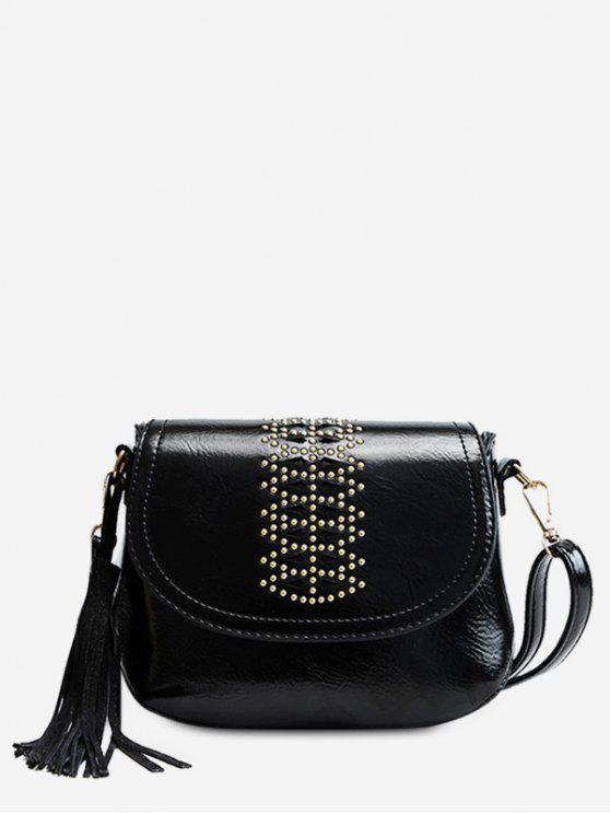 Geometric Design Tassel Crossbody Bag - أسود